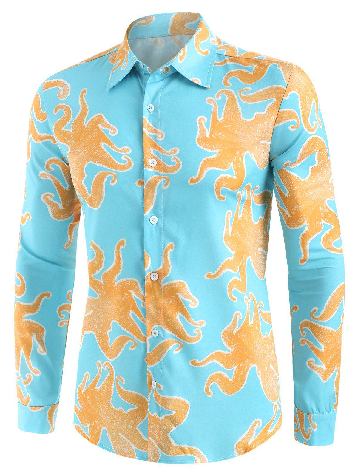 Funny Octopus Print Button Up Casual Shirt - multicolor XL