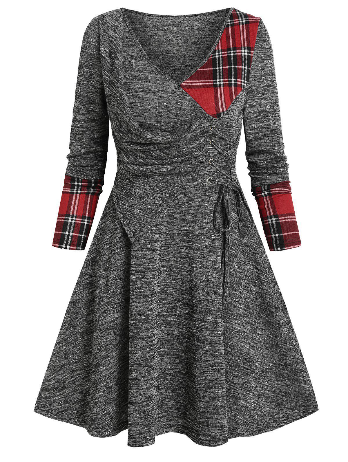 V Neck Checked Insert  Lace Up Mini Knitted Dress - GRAY 2XL