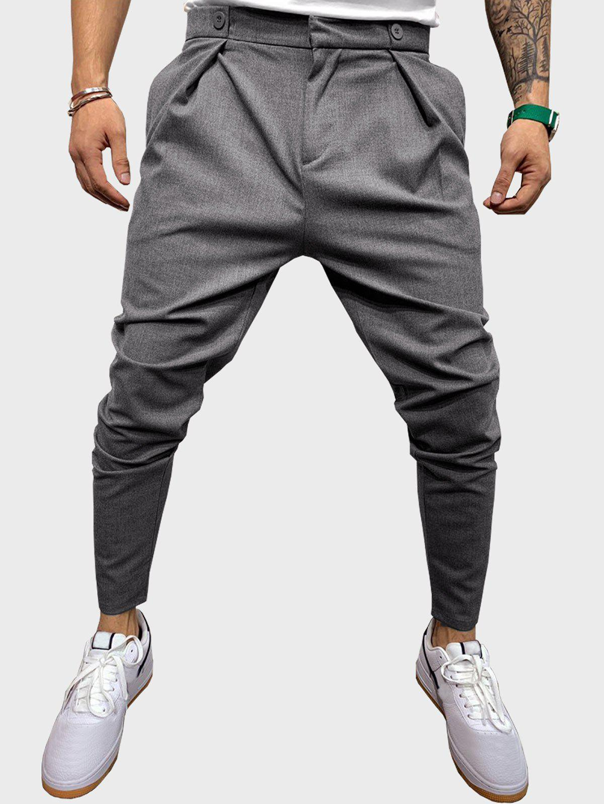 Button Detail Casual Tapered Pants - GRAY L