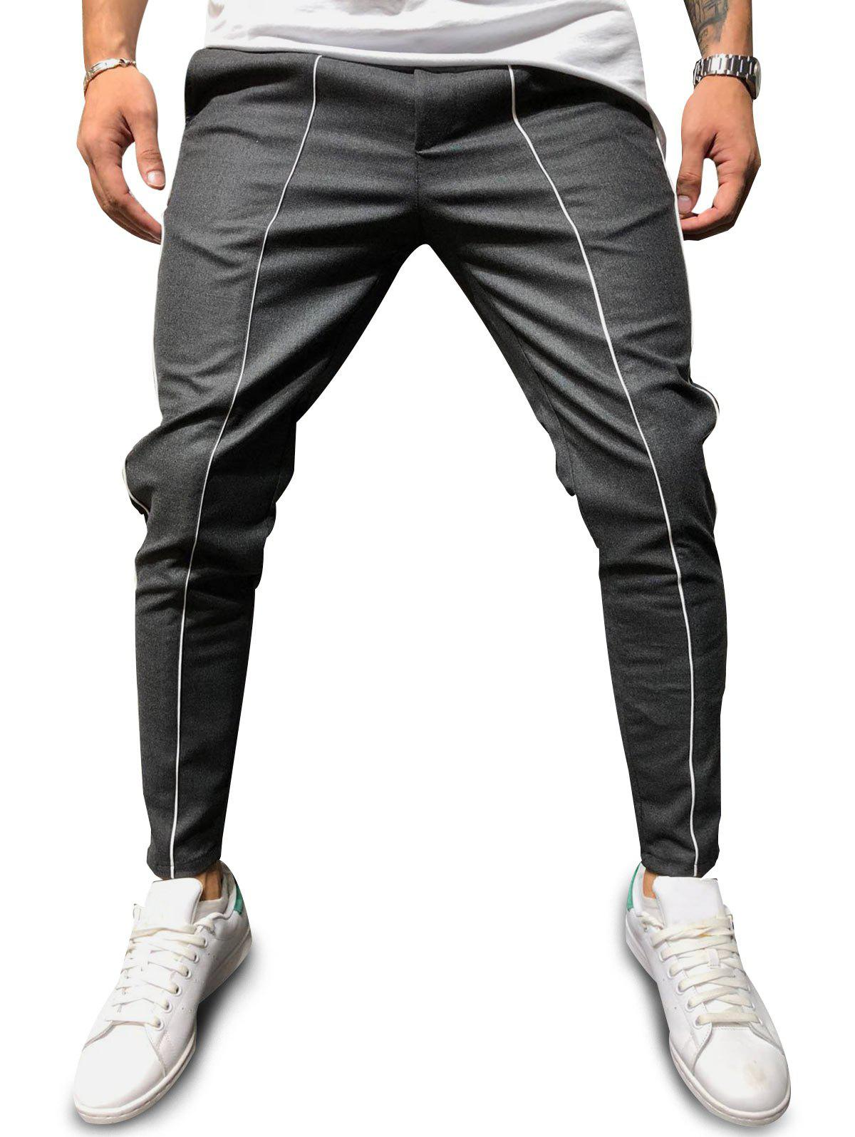 Contrast Piped Casual Pencil Pants - GRAY 2XL