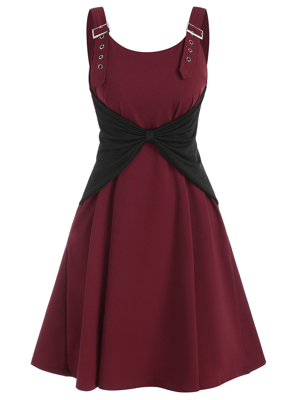 Buckle Bowknot A Line Dress - DEEP RED S