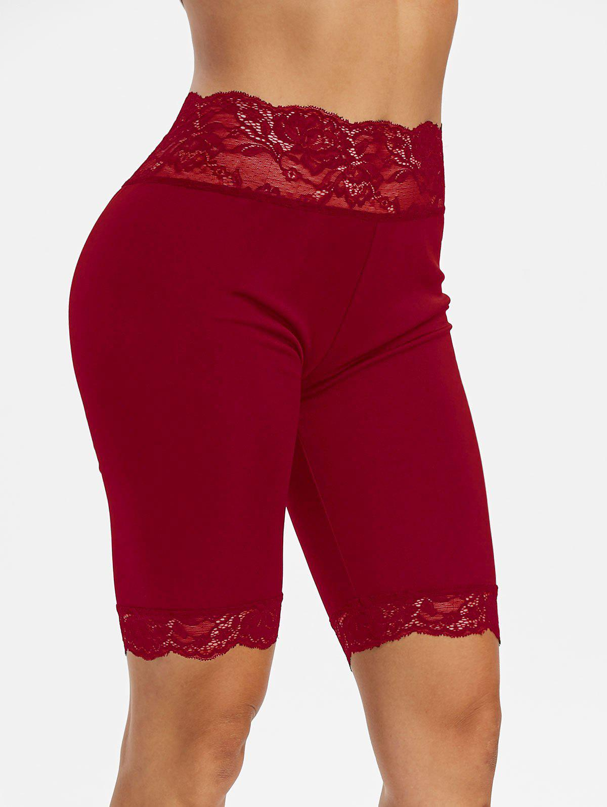 Lace Trim Mid-rise Short Leggings - RED WINE 2XL