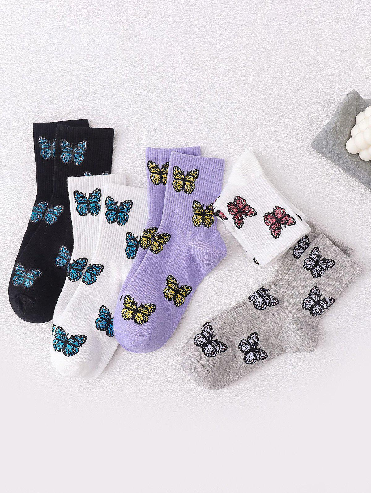 5 Pairs Butterfly Print Cotton Micro Crew Socks Set - multicolor A