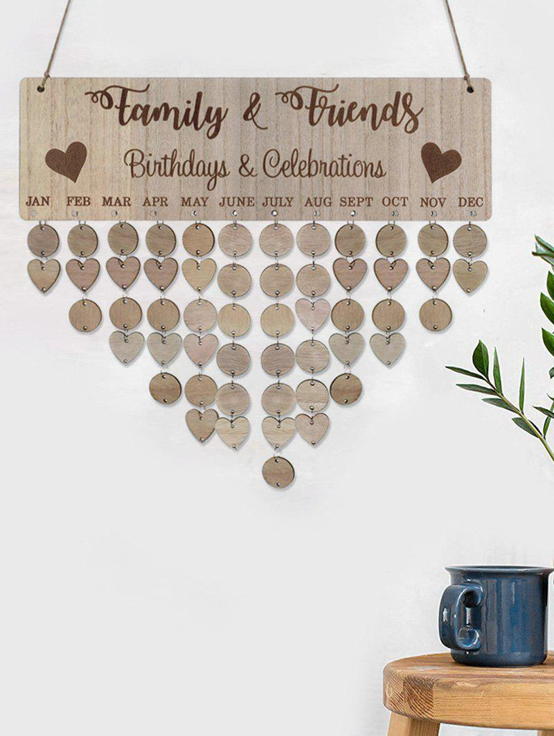Family and Friends Pattern DIY Wooden Birthday Calendar Reminder Board - BURLYWOOD