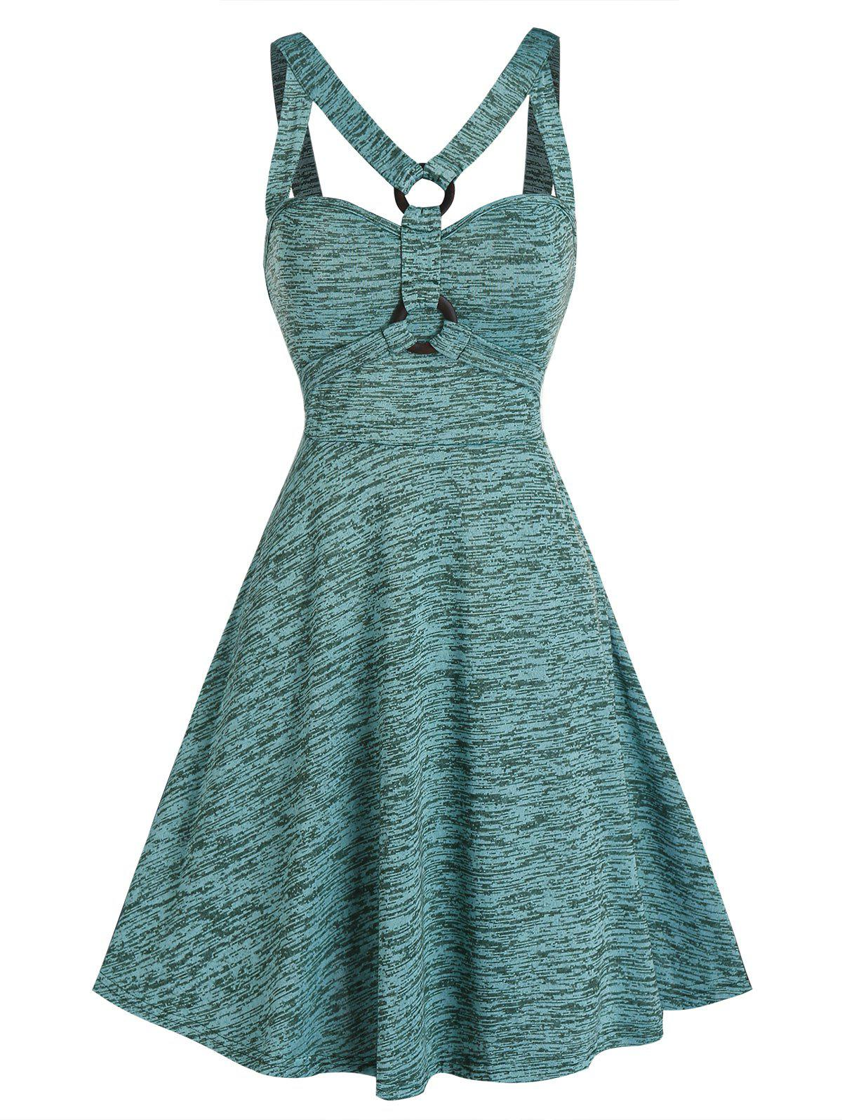Space Dye Print O-ring Strappy Flare Dress - LIGHT SEA GREEN 2XL