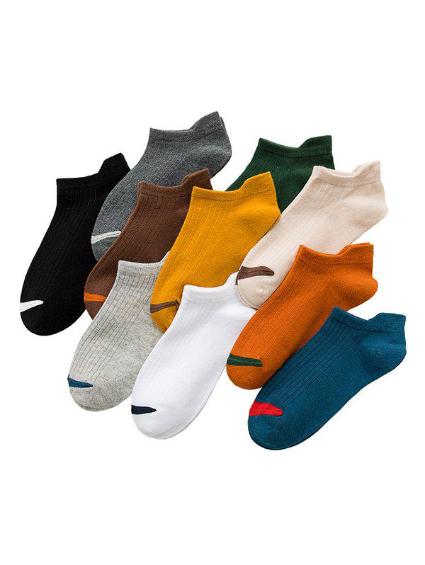 10Pairs Anti-friction Heel Colorblock Socks Set - multicolor A