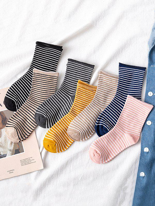 7 Pairs Pencil Striped Short Socks Set - multicolor A
