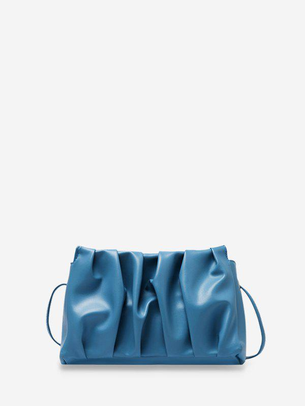 Pleated Solid Rectangle Crossbody Bag - LIGHT BLUE