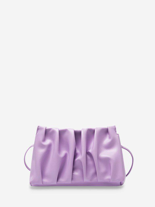 Pleated Solid Rectangle Crossbody Bag - LIGHT PURPLE