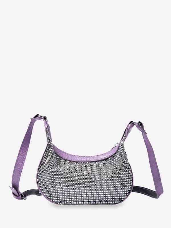 Crescent Shape Rhinestone Crossbody Bag - LIGHT PURPLE