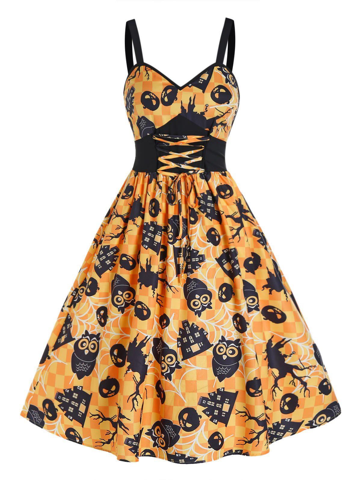Halloween Pumpkin Plaid Print Tie Waist Cami Dress - multicolor A M