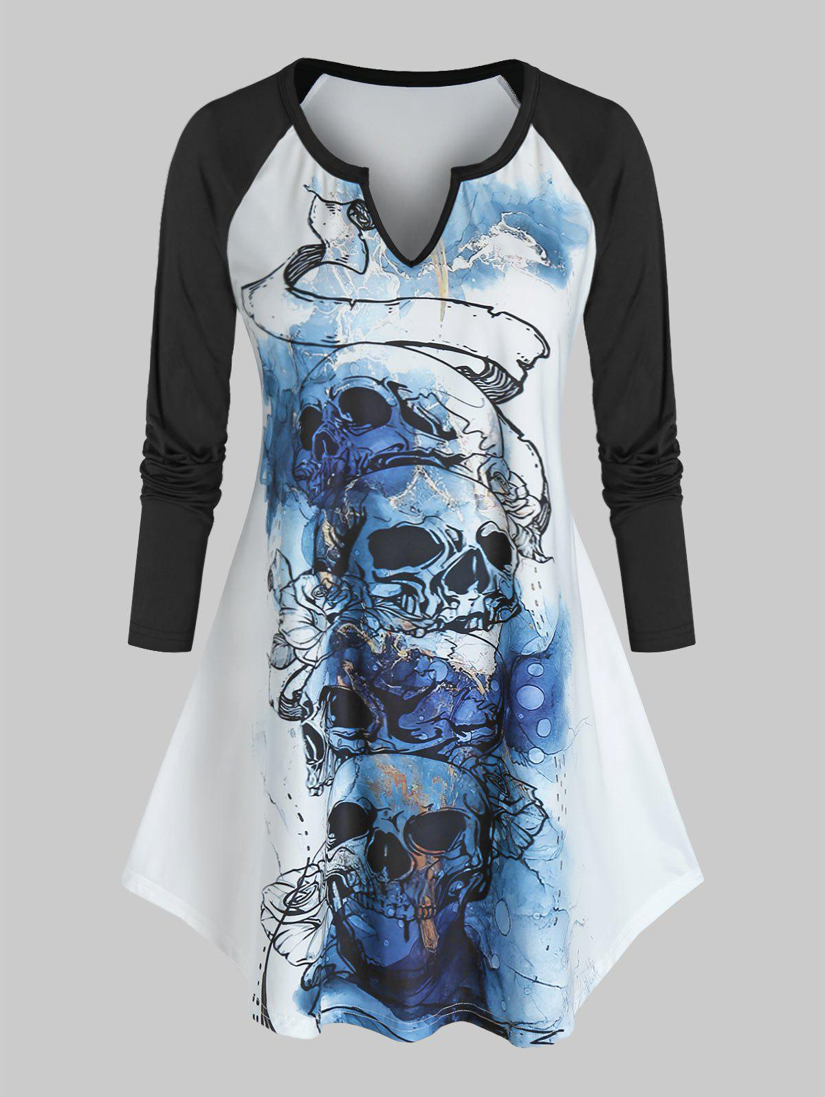 Plus Size Skull Graphic Notched Collar Long Sleeve T Shirt - BLACK 4X