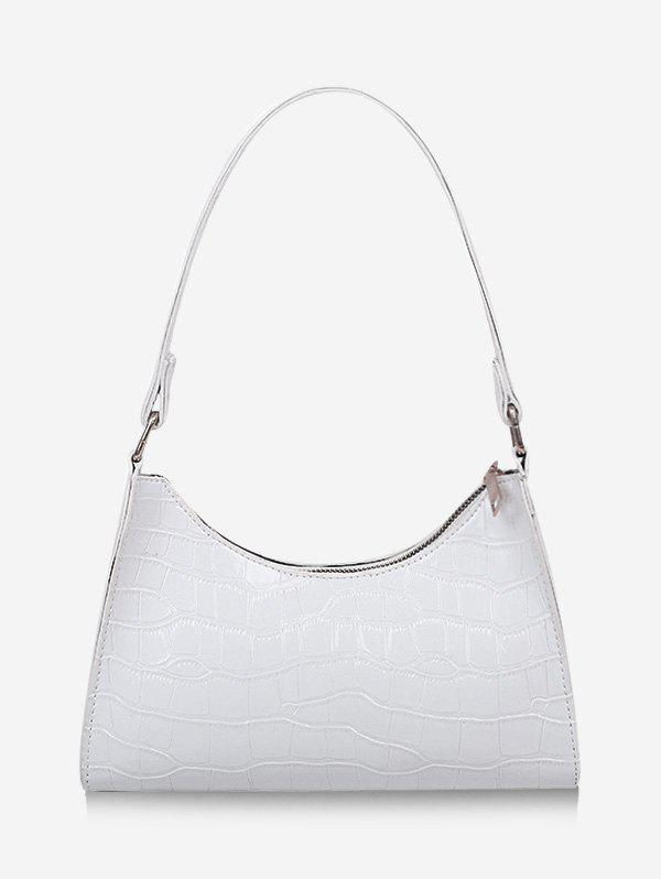 Textured Patent Leather Solid Shoulder Bag - WHITE