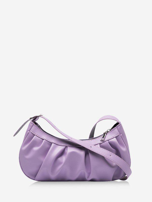 Casual Pleated Solid Shoulder Bag - LIGHT PURPLE