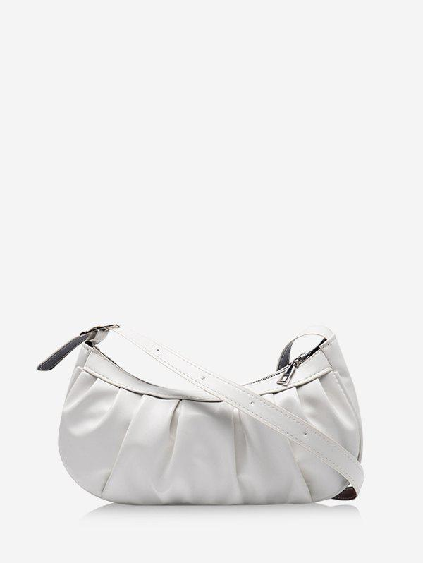 Casual Pleated Solid Shoulder Bag - WHITE