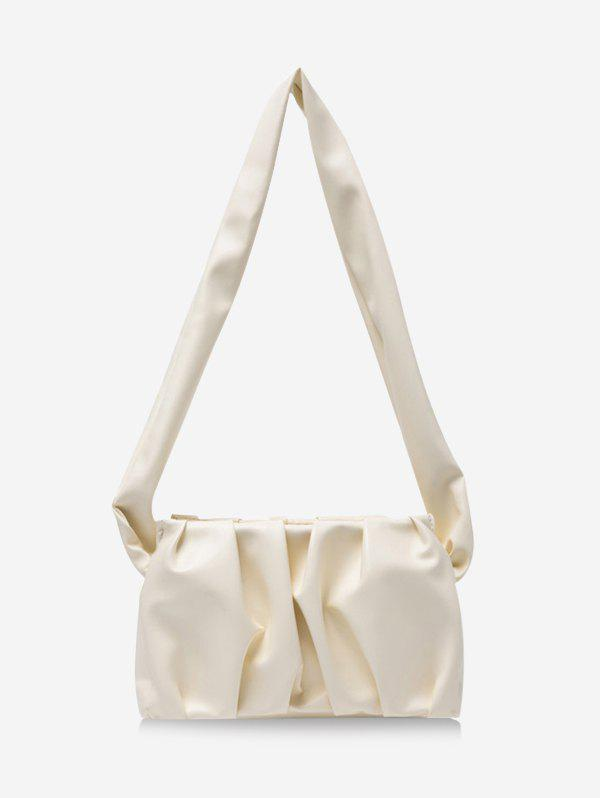 Solid Pleated Wide Strap Shoulder Bag - WHITE