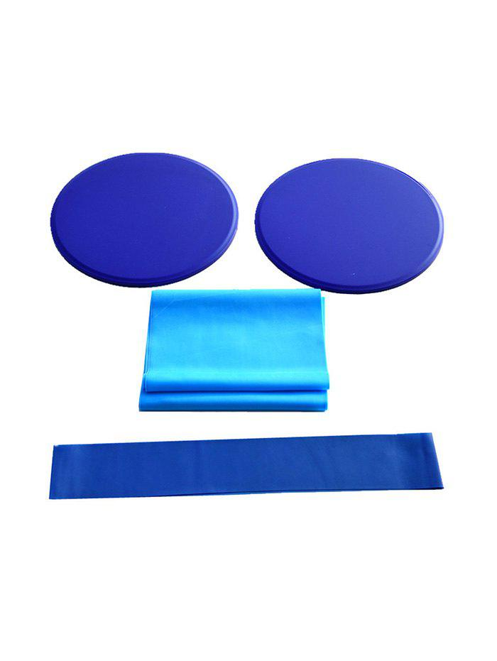 4Pcs Slide Plate Resistance Band and Ring Yoga Fitness Set - multicolor A