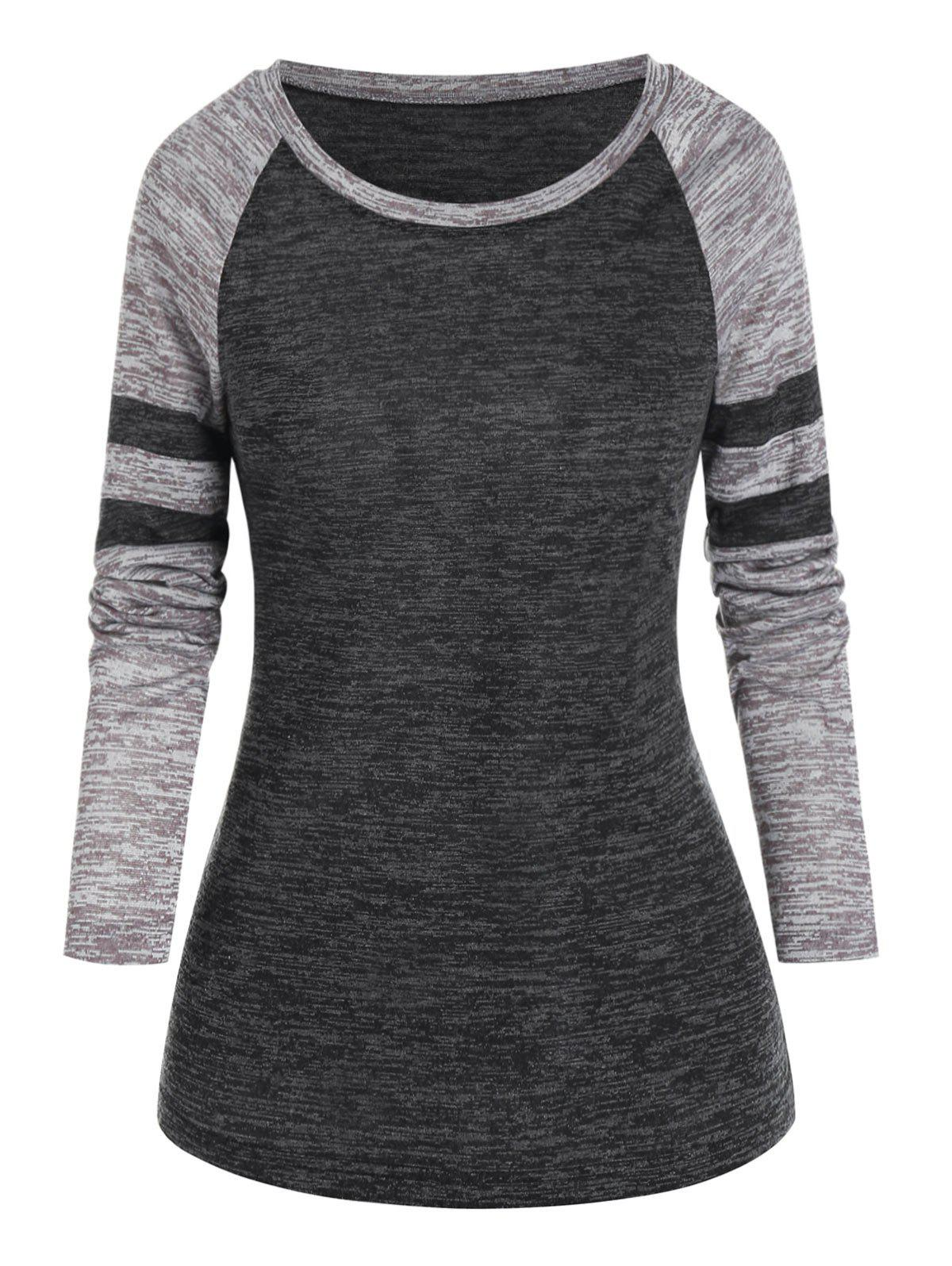 Casual Striped Raglan Sleeve T-shirt - ASH GRAY M