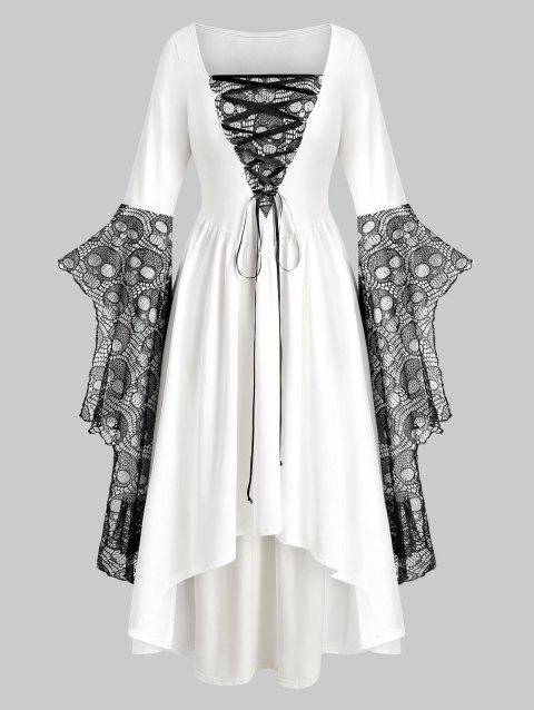 Plus Size Skull Lace Bell Sleeve Halloween Maxi Dress