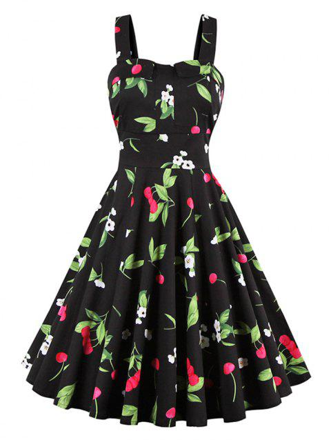 Cherry Print Waist Tie Fit and Flare Dress