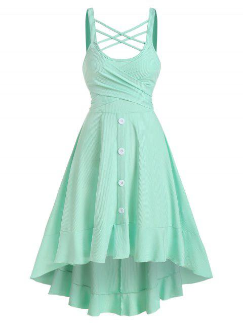 Sleeveless Criss-cross High Low Crossover Dress