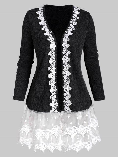 Ribbed Lace Mesh Panel Open Front Plus Size Cardigan