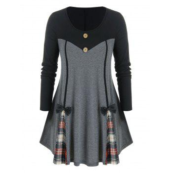 Plus Size Plaid Bowknot Contrast Long Sleeve Tee