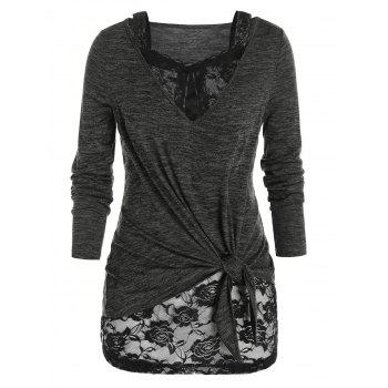 Plus Size Sheer Lace Knotted Two Piece T Shirt Sets