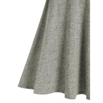 Mock Button Heathered Casual Dress