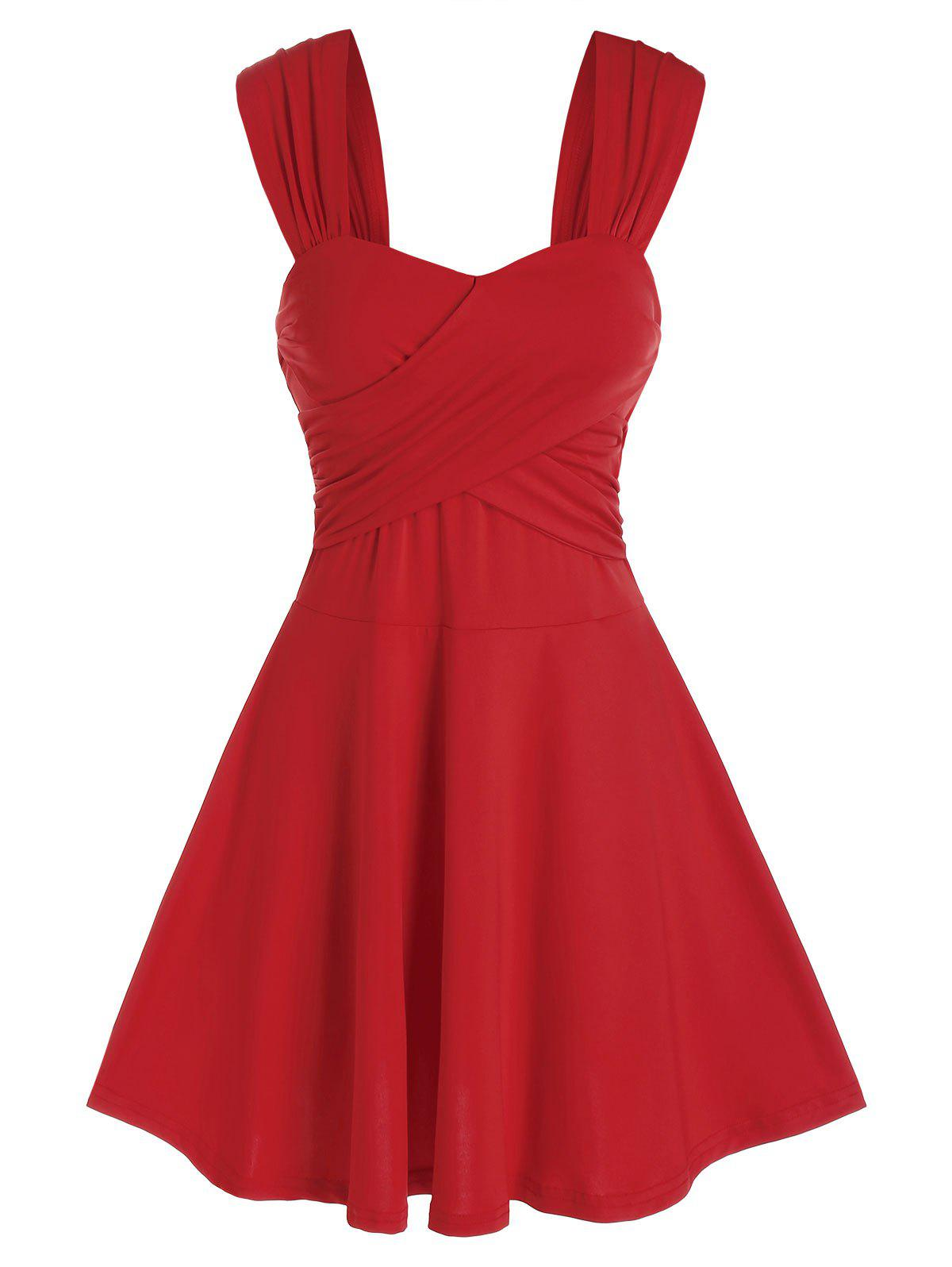 Sleeveless Crossover Flare Dress - RED 3XL