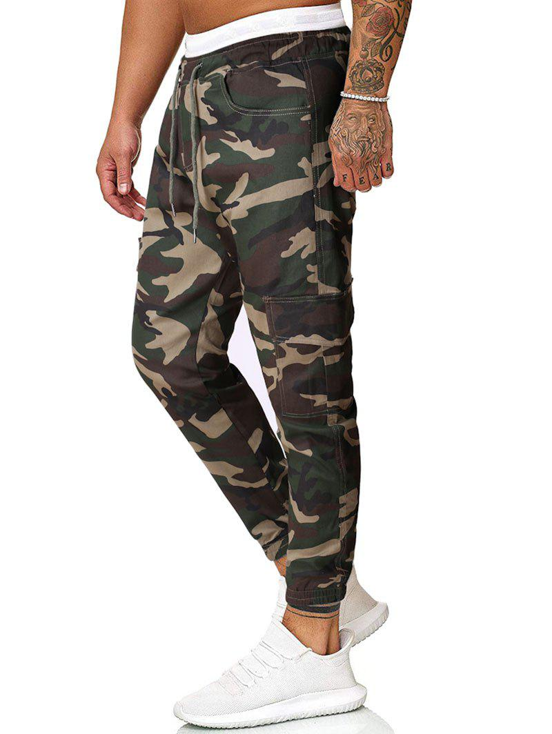 Camouflage Print Flap Pockets Cargo Pants - CAMOUFLAGE GREEN 2XL