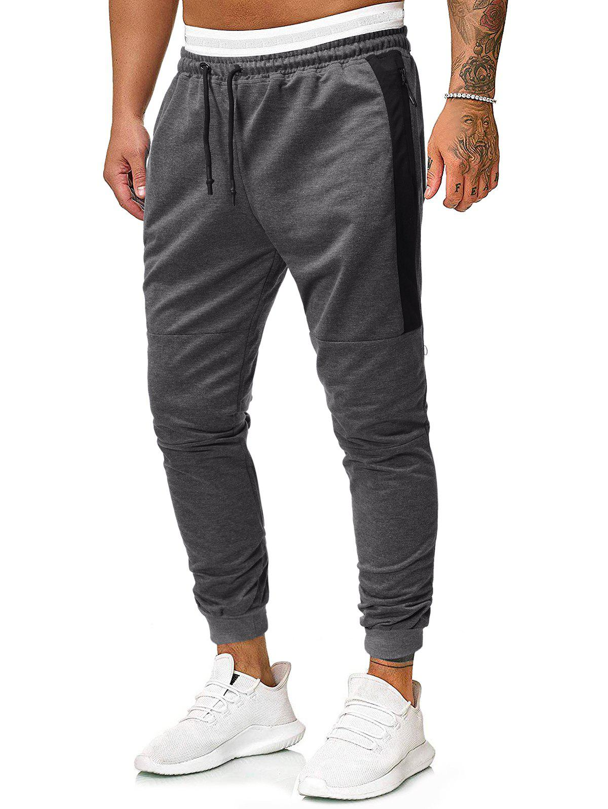 Contrast Patch Casual Pencil Pants - GRAY 2XL