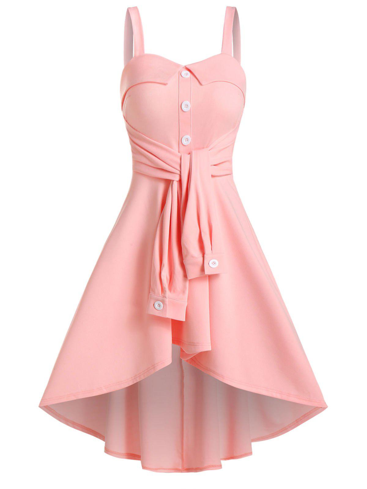 Sleeveless Mock Button Tie Front High Low Dress - PINK 3XL