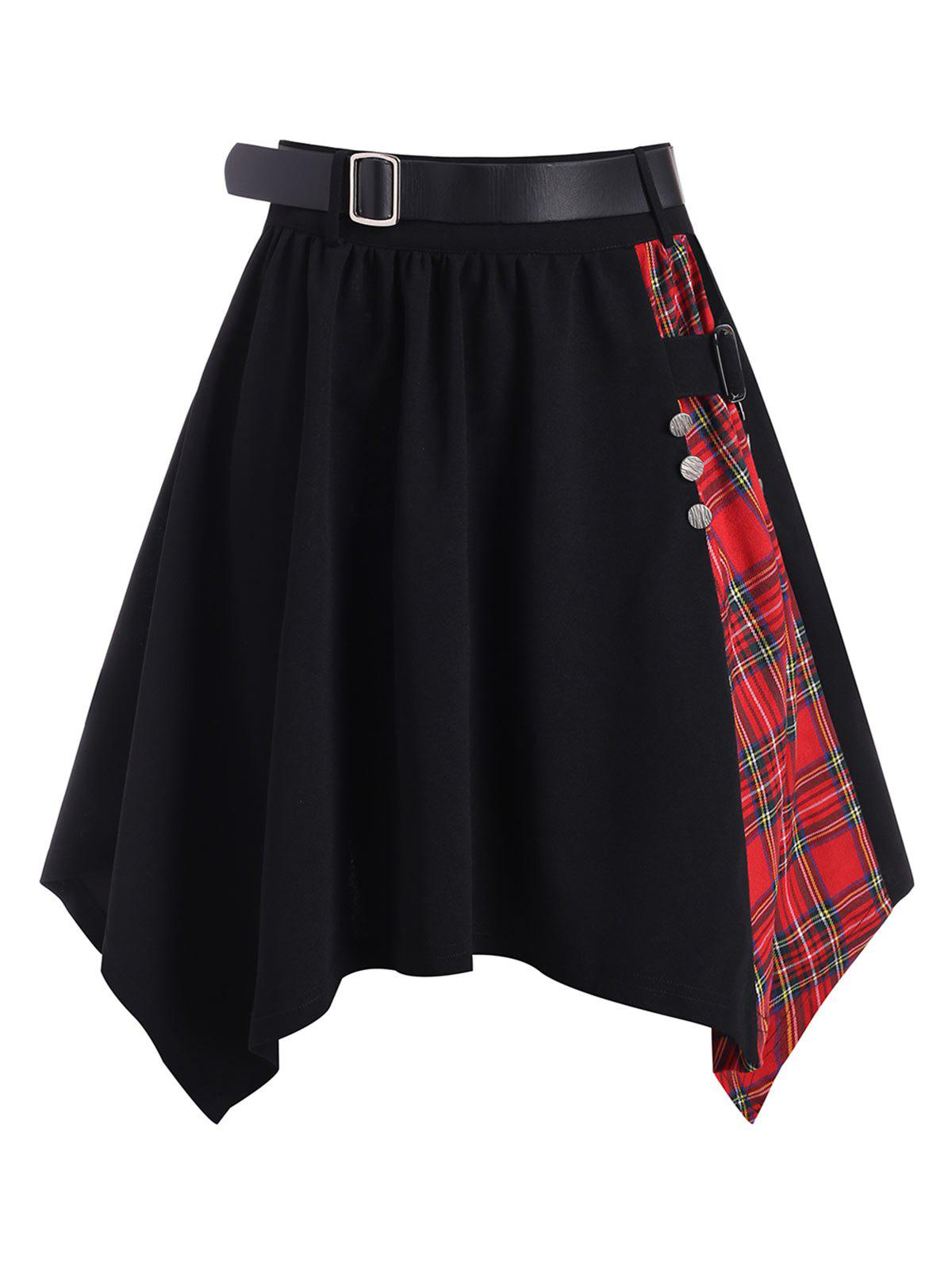 Plaid Buckle Belted Handkerchief Skirt - BLACK M