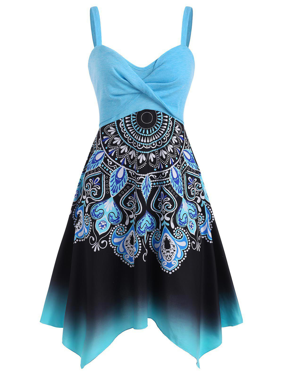 Floral Baroque Print Twisted Handkerchief Dress - LIGHT BLUE L