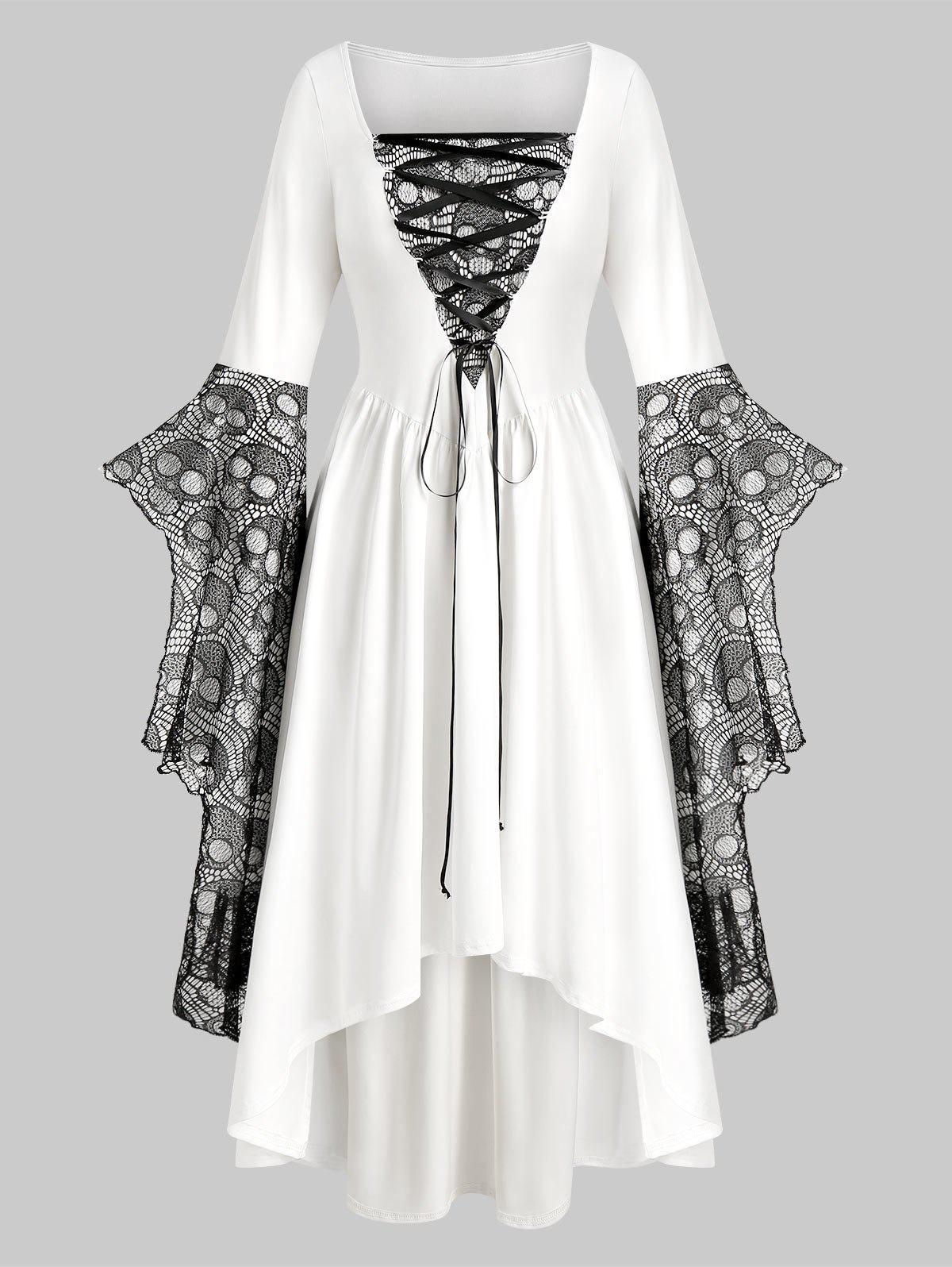 Plus Size Skull Lace Bell Sleeve Halloween Maxi Dress - WHITE 4X