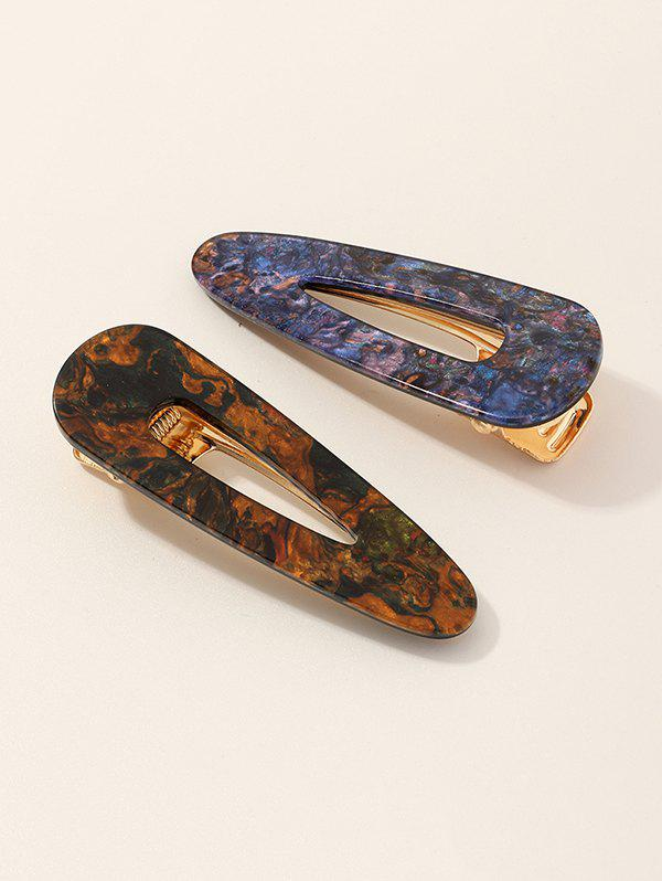2Pcs Abstract Pattern Hair Clip Set - multicolor A