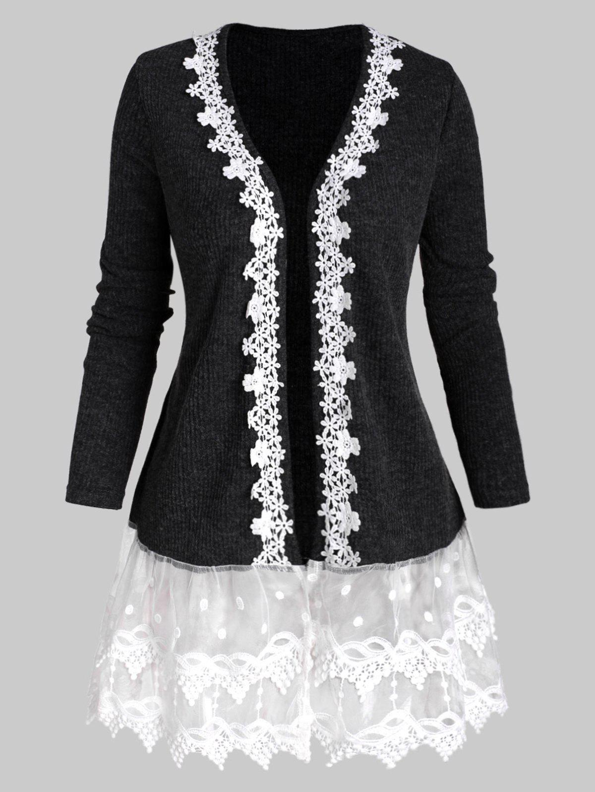 Ribbed Lace Mesh Panel Open Front Plus Size Cardigan - GRAY 5X
