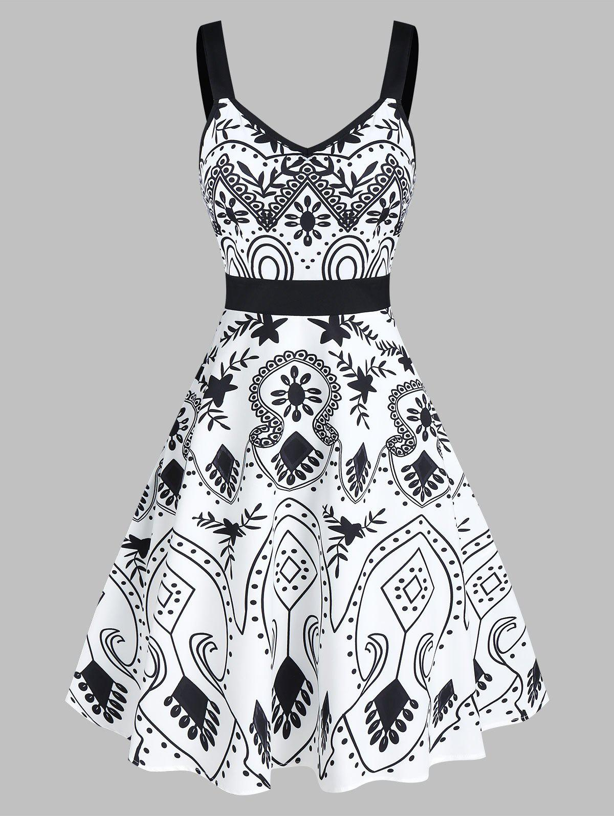 Floral Print Sweetheart Collar Fit And Flare Dress - WHITE L