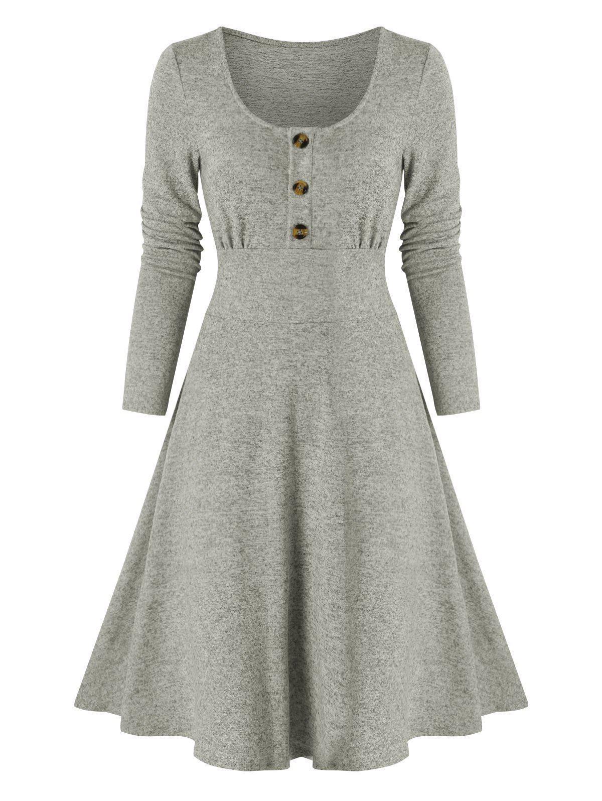 Mock Button Heathered Casual Dress - GRAY XL