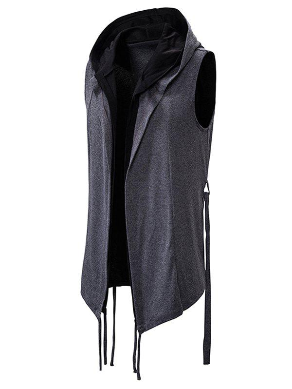 Belted 2 in 1 Open Front Gothic Hooded Vest - DARK GRAY XL