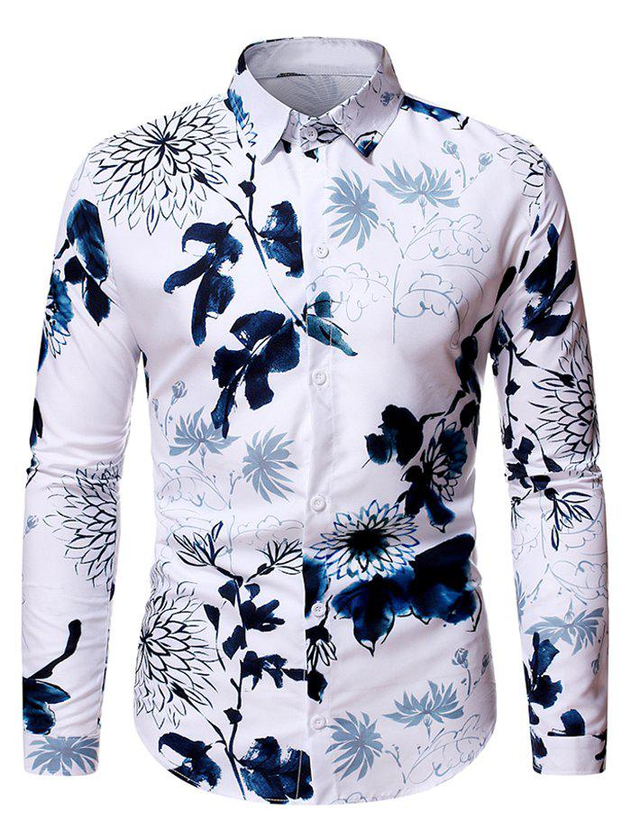 Flower Ink Painting Print Casual Shirt - WHITE M