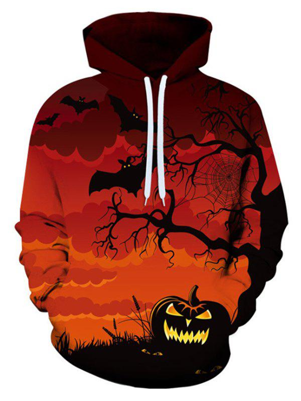Halloween Bat Pumpkin Pattern Front Pocket Casual Hoodie - CHESTNUT RED XL