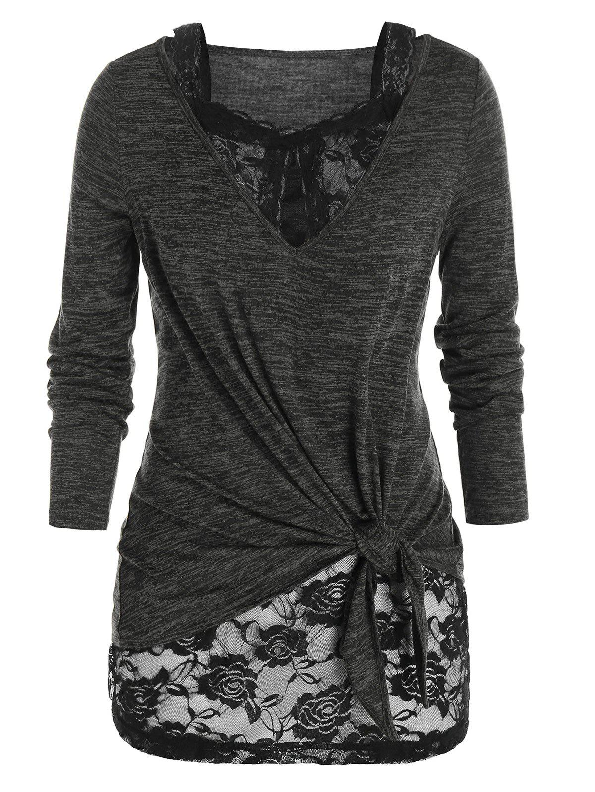 Plus Size Sheer Lace Knotted Two Piece T Shirt Sets - DARK GRAY 1X