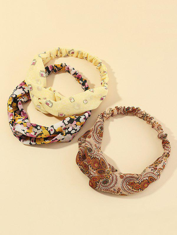 3Pcs Floral Print Knot Headband Set - multicolor A