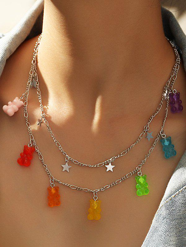 Resin Bear Star Charm Layered Necklace - SILVER