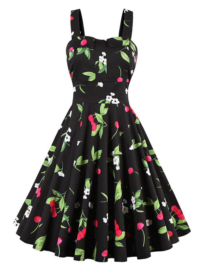 Cherry Print Waist Tie Fit and Flare Dress - BLACK 3XL
