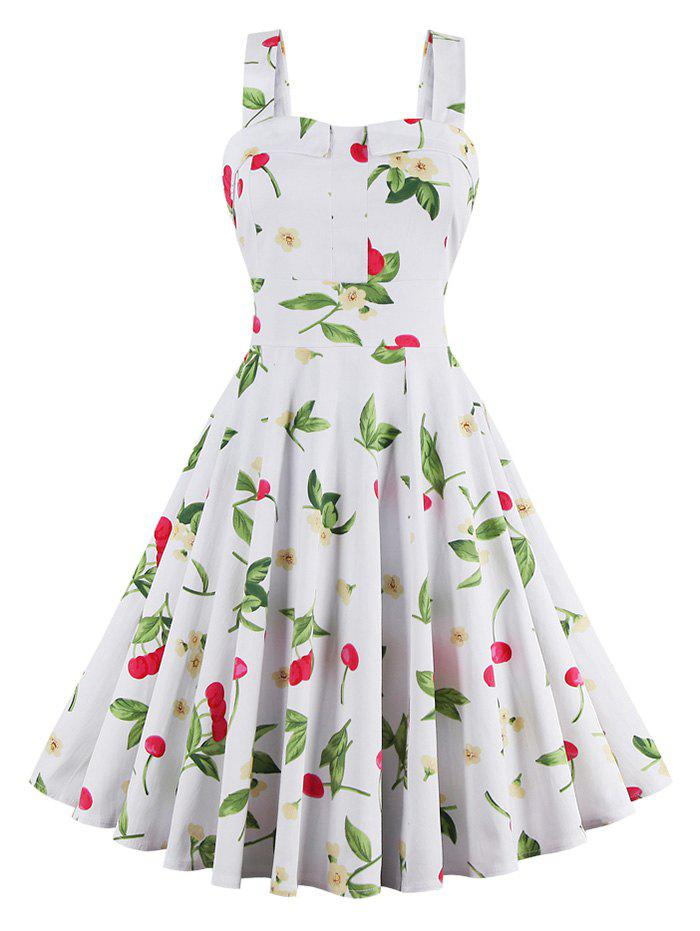 Cherry Print Waist Tie Fit and Flare Dress - WHITE 3XL