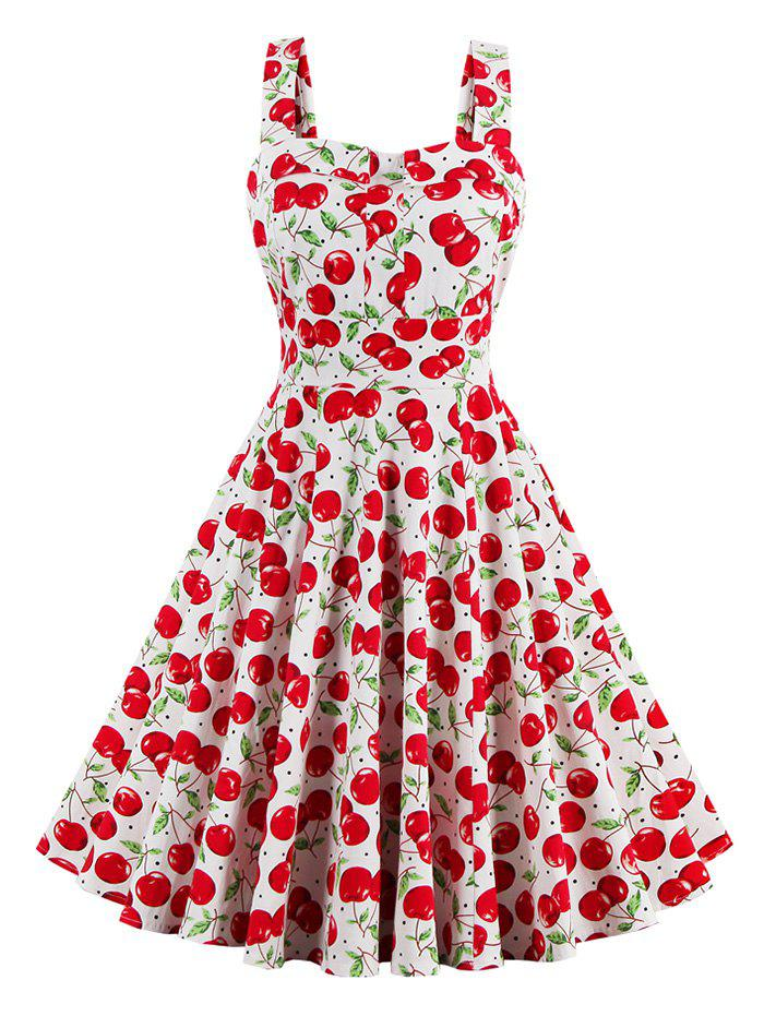 Cherry Print Waist Tie Fit and Flare Dress - RED XL