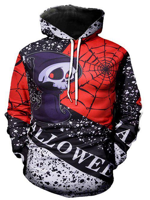 Halloween Ghost Spotty Front Pocket Drawstring Hoodie - RED 2XL